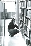 Bridgewater College, Richard Linfield (photographer), Student in stacks at Alexander Mack Memorial Library, circa 1972 by Richard Linfield