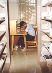 Bridgewater College, Student studying in the Alexander Mack Memorial Library, circa 1980 by Bridgewater College