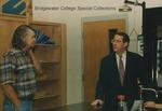 Bridgewater College, Chemistry professor Erich Brumbaugh talks with Congressman Bob Goodlatte as he tours the McKinney Center, 22 August 1996 by Bridgewater College