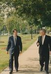 Bridgewater College, Congressman Bob Goodlatte and BC President Phillip C. Stone walk through campus on the way to a tour of the McKinney Center, 22 August 1996 by Bridgewater College