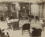 Bridgewater College, John Walter Wayland owned photograph of his wife Mattie Fry Wayland as BC librarian in College Hall (now Memorial Hall), circa 1903 by Bridgewater College
