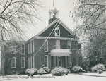Bridgewater College, Memorial Hall front in snow with snow on telephone wires, circa 1958 by Bridgewater College