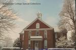 Bridgewater College, Memorial Hall between snow covered trees, 7 December 1995 by Bridgewater College