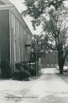 Bridgewater College, People on metal stairway in back of Memorial Hall, undated by Bridgewater College