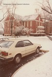 Bridgewater College, Memorial Hall behind parked cars in snow, January 1985 by Bridgewater College