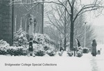 Bridgewater College, Bundled up students in snow around Moomaw Hall entrance, undated by Bridgewater College