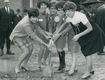 Bridgewater College, Five senior home economics students breaking ground for Moomaw Hall, 19 October 1968 by Bridgewater College