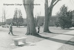Bridgewater College, People walking with Nininger Hall in the background, January 1985 by Bridgewater College