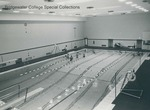 Bridgewater College, Aerial photograph of students in the swimming pool at Nininger Hall, undated by Bridgewater College