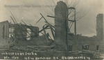 Bridgewater College, Front of postcard showing the gymnasium destroyed during construction by a storm in late December 1907 by Bridgewater College