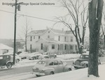 Bridgewater College, Cars parked in the snow outside the old President's House, maybe 1940s by Bridgewater College