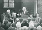 Bridgewater College, Wayne F. Geisert presenting the key to Bertha D. Phibbs at the Paul V. Phibbs Maintenance Center Dedication, 1 November 1991 by Bridgewater College