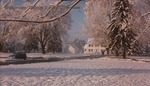 Bridgewater College, Leon Rhodes (photographer), President's House in snow across campus mall, April 1990 by Leon Rhodes
