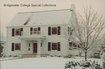 Bridgewater College President's House in snow and decorated for Christmas, 7 December 1995 by Bridgewater College