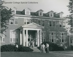 Bridgewater College, Students leaving and standing outside Rebecca Hall dining hall, undated by Bridgewater College
