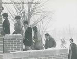 Bridgewater College, Chris Lydle (photographer), Students climbing Rebecca Hall stairs on a snowy day, circa 1967 by Chris Lydle