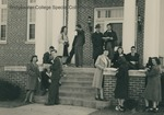 Bridgewater College, Students gathered at the entrance of Rebecca Hall, undated by Bridgewater College