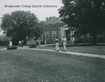 Bridgewater College, Students move along the walkway to Rebecca Hall, undated by Bridgewater College
