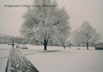 Bridgewater College, Campus mall in first winter snow with Rebecca Hall in background, 1988 by Bridgewater College