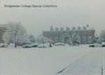 Bridgewater College, Rebecca Hall in snow from across campus mall, Winter 1988 by Bridgewater College