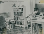 Bridgewater College, Paul Yoder Jr. (photographer), man studying in his residence hall room, undated by Paul Yoder Jr
