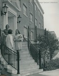 Bridgewater College, Women talk on the steps of a residence hall, undated by Bridgewater College
