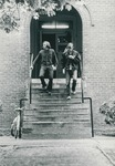 Bridgewater College, Richard W. Linfield (photographer), two men exiting a residence hall, undated by Richard W. Linfield