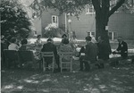 Bridgewater College, Class of 1943 in reunion on the campus lawn, undated by Bridgewater College