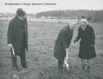 Bridgewater College, Benjamin O. and Crystal Wakeman shovel while Wayne F. Geisert watches at the Wakeman Hall groundbreaking, 18 December 1979 by Bridgewater College