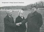 Bridgewater College, Wayne F. Geisert with Benjamin O. and Crystal Wakeman at the Wakeman Hall groundbreaking, 18 December 1979 by Bridgewater College