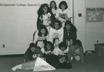 Bridgewater College, Women of Wakeman Hall E Section form a human pyramid for their yearbook floor portrait, circa 1993 by Bridgewater College