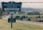 Bridgewater College, Wakeman Hall beyond the Bridgewater College sign, September 1987 by Bridgewater College