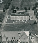 Bridgewater College, Aerial photograph of North Hall, Wright Hall and College Street Church (Bridgewater Church of the Brethren, now Carter Center), probably early 1960s by Bridgewater College