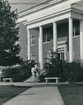 Bridgewater College, Two men talking on the steps of Wright Hall, undated by Bridgewater College